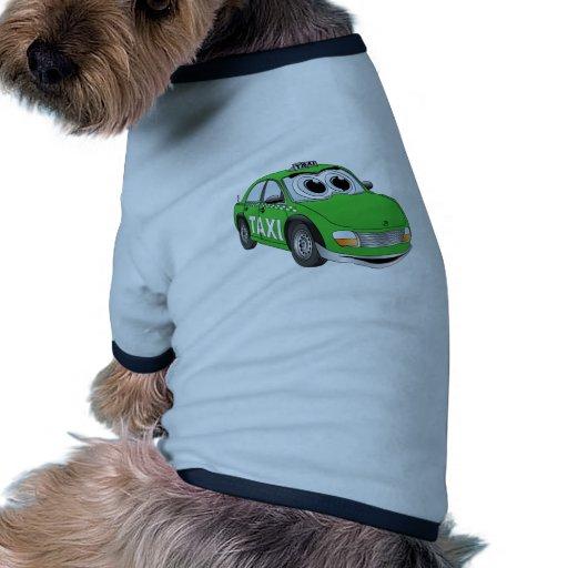 Dibujo animado verde del taxi camiseta con mangas para perro
