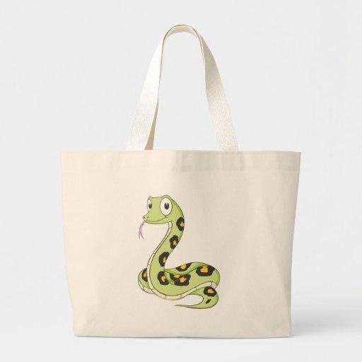 Dibujo animado verde lindo de la serpiente del Ana Bolsas