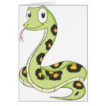 Dibujo animado verde lindo de la serpiente del Ana Tarjetón