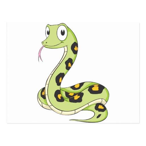 Dibujo animado verde lindo de la serpiente del Ana Postales