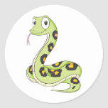 Dibujo animado verde lindo de la serpiente del pegatinas redondas