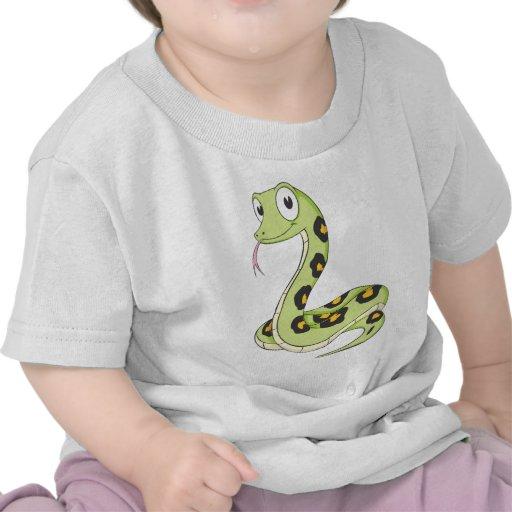 Dibujo animado verde lindo de la serpiente del camiseta