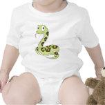 Dibujo animado verde lindo de la serpiente del trajes de bebé