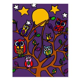 Dibujo animado XY del arte popular de los búhos Postal