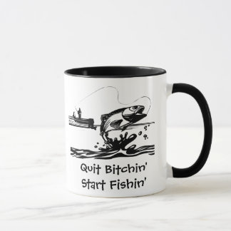 Dibujo animado y el decir divertidos de la pesca taza
