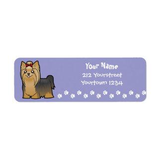 Dibujo animado Yorkshire Terrier (de pelo largo Etiquetas De Remite