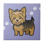 Dibujo animado Yorkshire Terrier (pelo corto Azulejo Cuadrado Pequeño