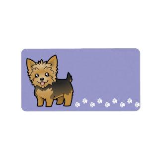 Dibujo animado Yorkshire Terrier (pelo corto Etiquetas De Dirección
