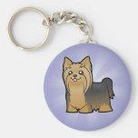 Dibujo animado Yorkshire Terrier (pelo largo Llavero Redondo Tipo Pin