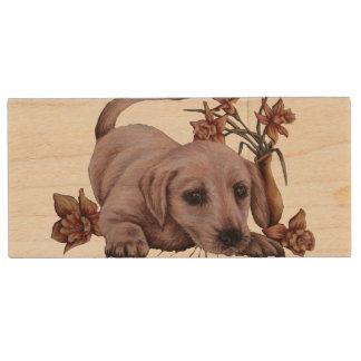 Dibujo animal blanco de Labrador del perro del Pen Drive De Madera USB 3.0