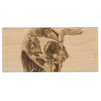 Dibujo animal de consumición del perro del retrato memoria USB 3.0 de madera