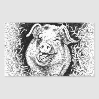 dibujo animal del cerdo feliz rectangular altavoces