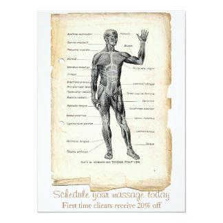 """Dibujo anterior del vintage de la anatomía invitación 5.5"""" x 7.5"""""""