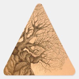Dibujo antiguo del árbol pegatina de triangulo