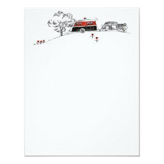 """Dibujo antiguo del campista y del coche de rv invitación 4.25"""" x 5.5"""""""