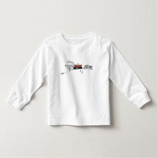 Dibujo antiguo del campista y del coche de rv camisetas