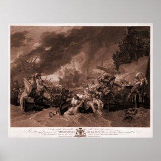 Dibujo antiguo grabado la batalla en el La Hogue Impresiones