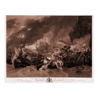 Dibujo antiguo, grabado, la batalla en el La Hogue Postal