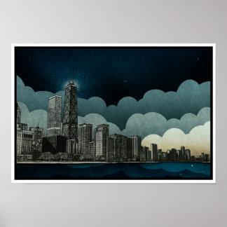 Dibujo arquitectónico del horizonte de Chicago Póster