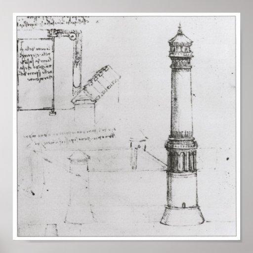 Dibujo arquitectónico, torre, Leonardo da Vinci Póster