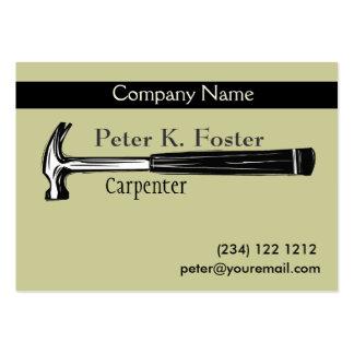 Dibujo artístico del martillo del carpintero de tarjetas de visita grandes
