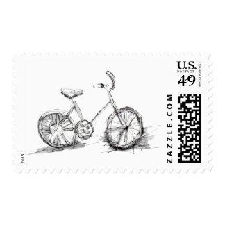 Dibujo artístico lindo de la bici sello
