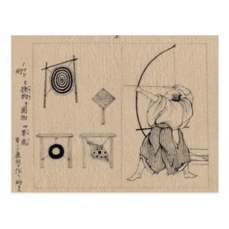 Dibujo asombroso de Archer del japonés circa 1878 Tarjeta Postal
