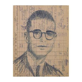 Dibujo azul de radio del retrato de la cabeza #1 cuadro de madera