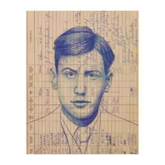 Dibujo azul de radio del retrato de la cabeza #8 impresiones en madera