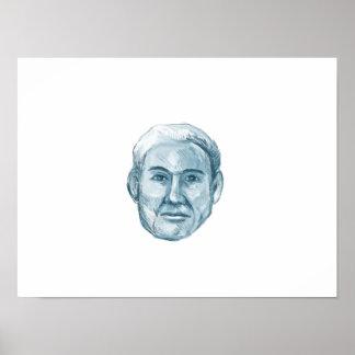 Dibujo azul del juego de identificación del hombre póster
