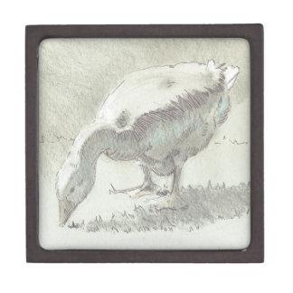 Dibujo blanco del ganso cajas de joyas de calidad