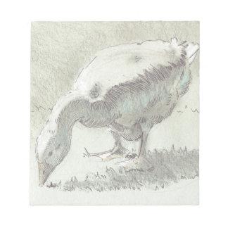 Dibujo blanco del ganso libreta para notas