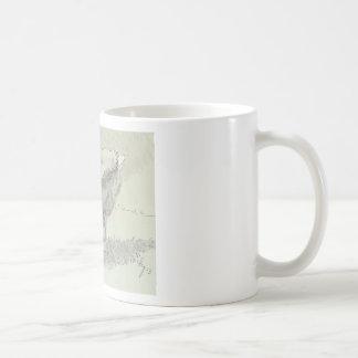 Dibujo blanco del ganso taza de café