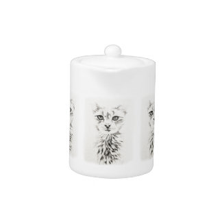 Dibujo blanco del gato del gato elegante del