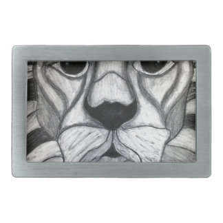 Dibujo blanco del negro del carbón de leña del leó hebilla cinturon rectangular