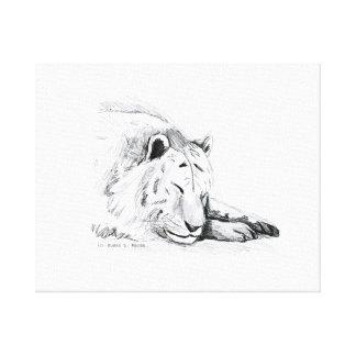 Dibujo blanco durmiente de la cabeza del tigre y d impresión en tela