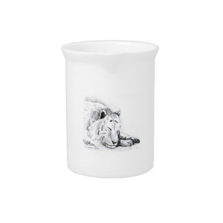 Dibujo blanco durmiente de la cabeza del tigre y d jarras