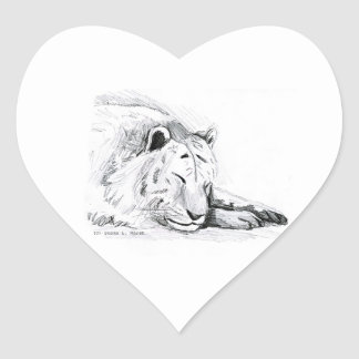 Dibujo blanco durmiente de la cabeza del tigre y d pegatina de corazón personalizadas