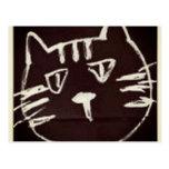 dibujo blanco en bosquejo negro de un gato postal