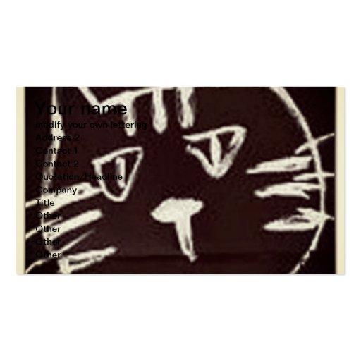 dibujo blanco en bosquejo negro de un gato plantilla de tarjeta de negocio