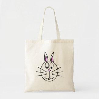 Dibujo blanco grande del dibujo animado del conejo bolsas de mano