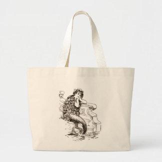 Dibujo blanco negro de la sirena del vintage bolsas lienzo