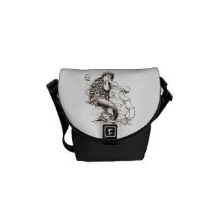 Dibujo blanco negro de la sirena del vintage bolsas de mensajeria