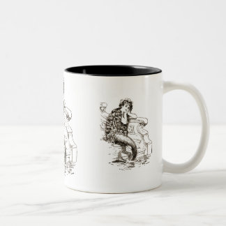 Dibujo blanco negro de la sirena del vintage taza de café