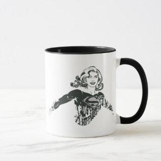 Dibujo blanco y negro 1 de Supergirl Taza