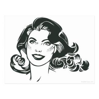 Dibujo blanco y negro 2 de Supergirl Tarjeta Postal