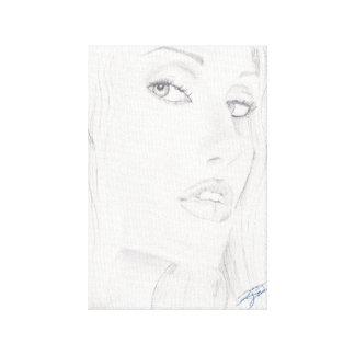 Dibujo blanco y negro de la mujer de Beautiul Impresiones En Lienzo Estiradas