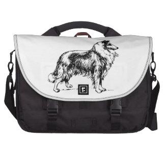 Dibujo blanco y negro de la raza del perro del col bolsas para portátil