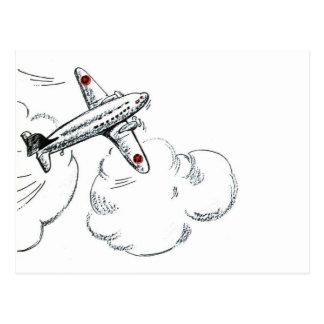 Dibujo blanco y negro del aeroplano del vintage postal