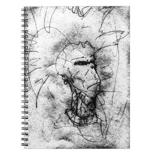 Dibujo blanco y negro del eje de balancín punky de libro de apuntes con espiral